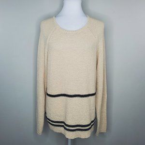 Magaschoni Striped Crew Neck Knit Pullover Sweater